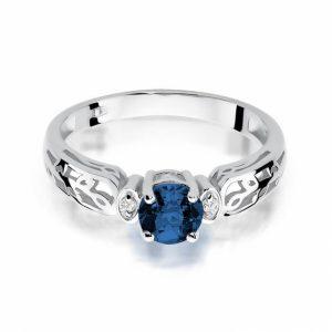 pierścionek z białego złota z szafirem